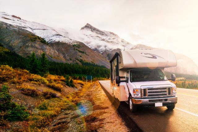 camper driving through mountains